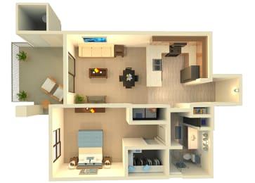Almeria at Ocotillo A3 floor plan - 1 bedroom 1 bath - 3D
