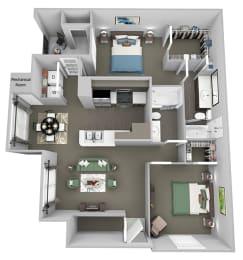 Weston Point - B1 - 2 bed - 1 bath - 3D floor plan