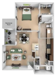 Courtney Station floor plan A1 - 1 bedroom 1 bath - 3D