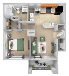 Cordillera Ranch Apartments floor plan - A1(Amarillo) - 1 bedroom 1 bath - 3D