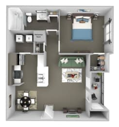 The Colony at Deerwood Apartments floor plan A1 (The Glen) - 1 bed 1 bath - 3D