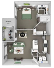 Sonterra Apartments at Paradise Valley - A1 (Jade) - 1 bedroom and 1 bath - 3D
