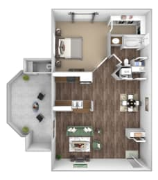 Arrowhead Landing Apartments floor plan A2 Starboard 1 bedroom 1 bath 3D