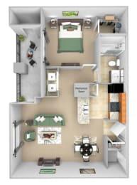 Cordillera Ranch Apartments floor plan - A2 (Bello) - 1 bedroom 1 bath - 3D