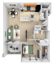 Cordillera Ranch Apartments floor plan - A3 (Aldona) - 1 bedroom 1 bath - 3D