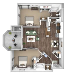 Arrowhead Landing Apartments floor plan B1 Beacon 2 bedroom 2 bath 3D