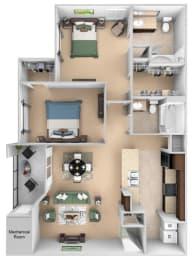 Courtney Station floor plan B1 - 2 bedroom 2 bath - 3D