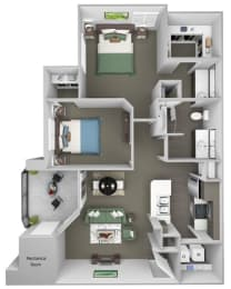 Sonterra Apartments at Paradise Valley - B1 (Emerald) - 2 bedroom and 2 bath - 3D