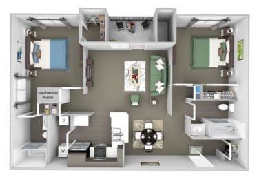 The Colony at Deerwood Apartments floor plan B1 (The Hollow) - 2 bed 2 bath - 3D