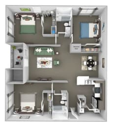 The Colony at Deerwood Apartments floor plan C1 (The Thicket) - 3 bed 2 bath - 3D