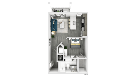 Oliver Floor Plan at The Crest Apartments at Flowery Branch, Flowery Branch, Georgia