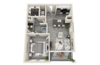 One-Bedroom Floor Plan at The Mansions McKinney, McKinney, TX, 75070