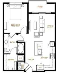 A1 One Bedroom One Bath Floor Plan at Berkshire Pullman, Frisco