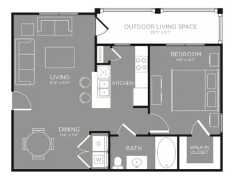 One Bed One Bath Floor Plan at Grand Estates in the Forest, Conroe, Texas