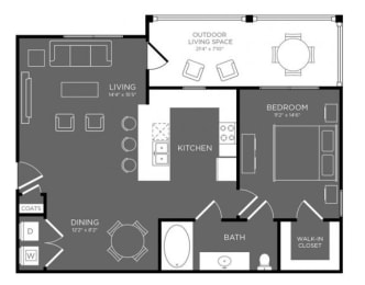 One Bed One Bath Floor Plan at Mansions Woodland, Conroe