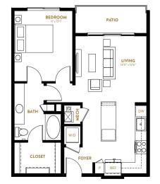 A2 One Bedroom One Bath Floor Plan at Berkshire Pullman, Texas