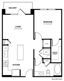A1 Floor Plan at Berkshire Exchange Apartments, Spring, TX