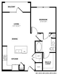 A2 Floor Plan at Berkshire Exchange Apartments, Spring, 77388