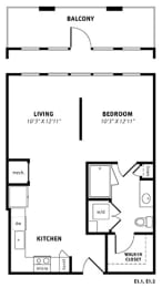 E1 Floor Plan at Berkshire Exchange Apartments, Spring, TX, 77388