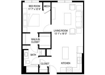 1A Floor Plan at Berkshire Central, Blaine, Minnesota
