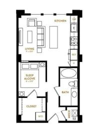 Studio  E1 Floor Plan at Berkshire Pullman, Frisco, Texas