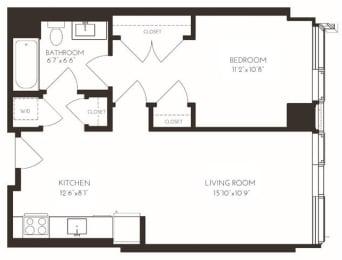 VI1A5 Floor Plan at Via Seaport Residences, Boston, MA, 02210