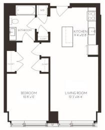 VI1A6 Floor Plan at Via Seaport Residences, Boston, MA