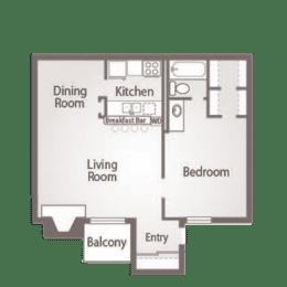 1 Bed 1 Bath Floor Plan at Abbey Glenn Apartments, Waco, TX, 76706