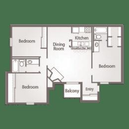 3 Bed, 2 Bath Floor Plan at Abbey Glenn Apartments, Waco, 76706