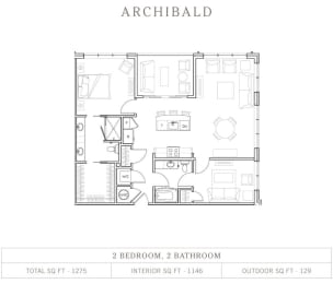 2 Bed 2 Bath Floor Plan at Vickers Roswell, Roswell, 30075