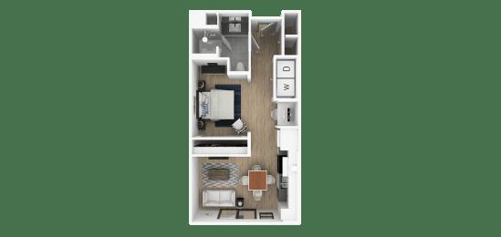 A 1 Bed 1 Bath Floor Plan at Everra Midtown Park, Dallas, TX, 75231