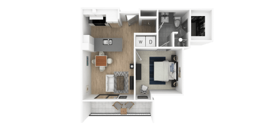 B 1 Bedroom 1 Bathroom Floor Plan at Everra Midtown Park, Dallas, TX