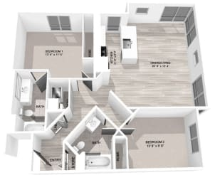 Floor Plan Large 2 Bed, 2 Bath