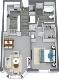 1 Bed & 1 Bath Floor Plan At Iroquois Club Apartments In Naperville, IL
