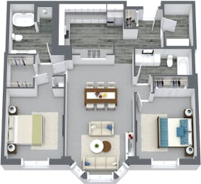 2 Bed & 2 Bath Floor Plan At Iroquois Club Apartments In Naperville, IL