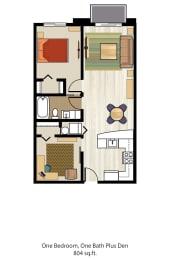 Floor Plan One Bedroom One Bath Plus Den