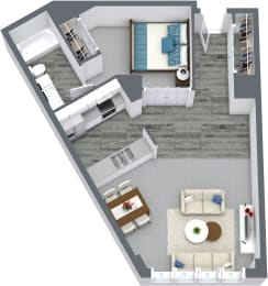 Convertible - Studio & 1 Bath Floor Plan At Iroquois Club Apartments In Naperville, IL