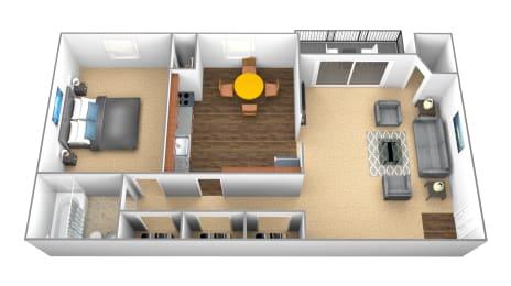 1 bedroom, 1 bathroom 3D floorplan at Windsor House Apartments in Middle River, MD