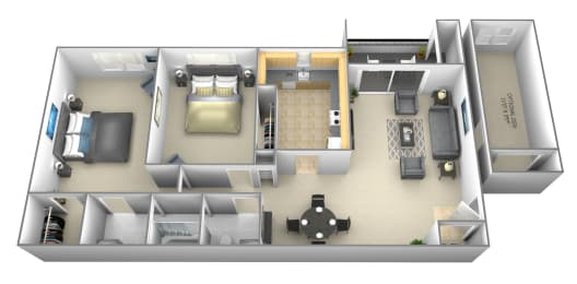 2 bedroom 1 bathroom with optional den a floor plan at Woodsdale Apartments in Abingdon, MD