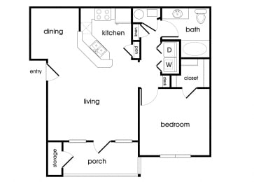 Floor Plan  A1 Floorplan at Lakeside Vista Apartments in Kennesaw, GA