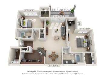 Floor Plan Two Bedroom with a Deck/Patio