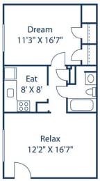 Crystal Lakes_ 1 Bedroom_FloorPlan