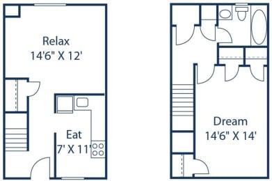 1 Bedroom Townhome_2_FloorPlan