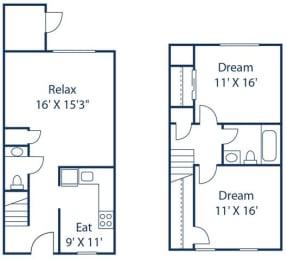 VA_Richmond_CrystalLakes_2 Bedroom Townhome FloorPlan