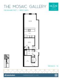 Floor Plan Mosaic Gallery - 1 Bedroom 1 Bath