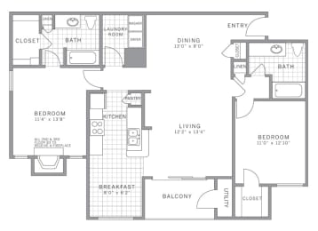 B3 Floor Plan at AVE Somerset, Somerset, New Jersey