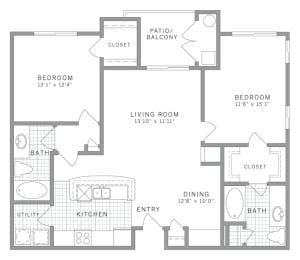 B1 Floor Plan at AVE Clifton, Clifton, NJ