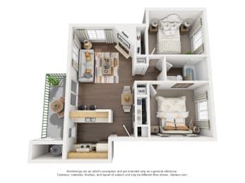 2 Bedroom, 1 Bath, Downstairs Floorplan,at Park Ridge Apartments, Fresno