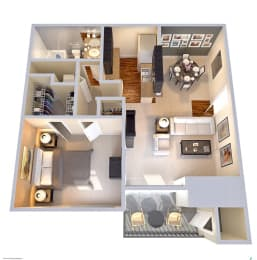 Floor Plan 1 Bedroom 1 Bath  627 SF