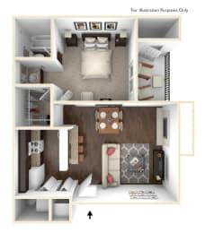 Floor Plan 1 Bedroom 1 Bath  550 SF